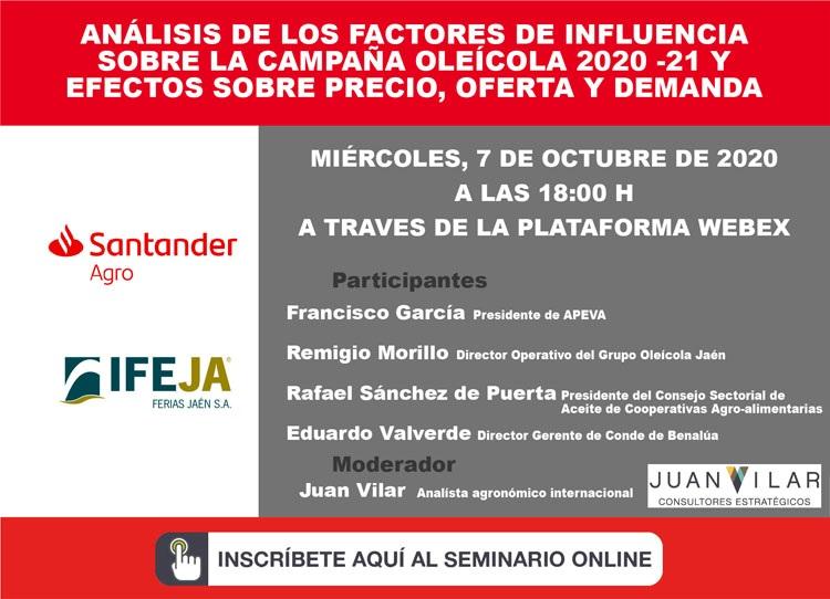 Debate sobre la nueva campaña oleícola 2020/21 a través de un seminario online organizado por Santan